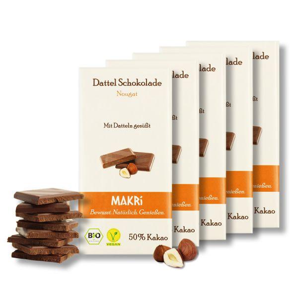 5er Set - MAKRi Dattel Schokolade - Nougat 50%