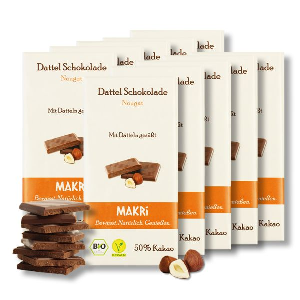 Set of 10 - MAKRi Date Chocolate - Nougat 50%