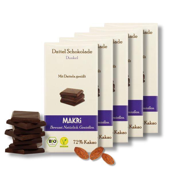 5er Set - MAKRi Dattel Schokolade - Dunkel 72%