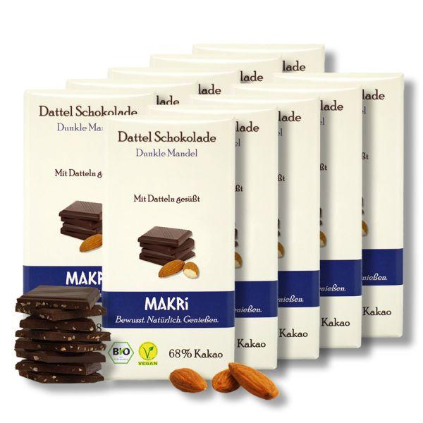 Set of 10 - MAKRi Date Chocolate - Dark Almond 68%